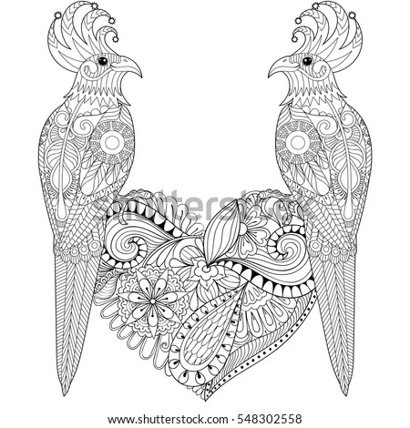Exotic Tropical Zentangle Bird Lovely Couple For Adult Anti Stress Coloring Page Parrots Sitting On