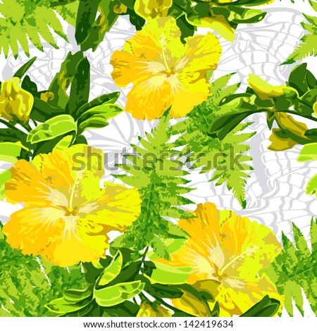 exotic yellow flowers - stock vector
