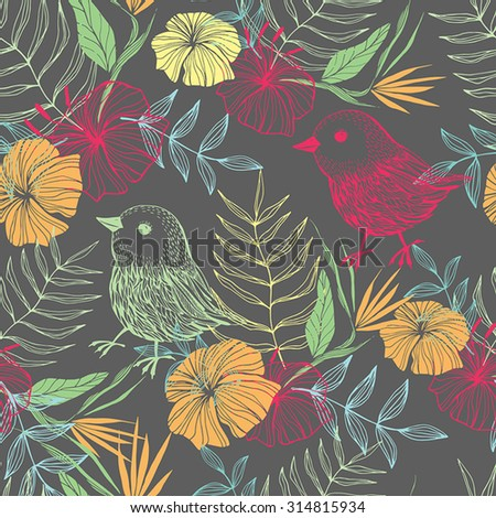 Exotik floral pattern with bird. Beautiful floral seamless pattern made in bright colors. Lovely natural background.