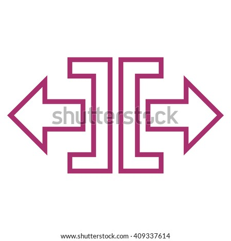 Expand Horizontal vector icon. Style is contour icon symbol, purple color, white background. - stock vector