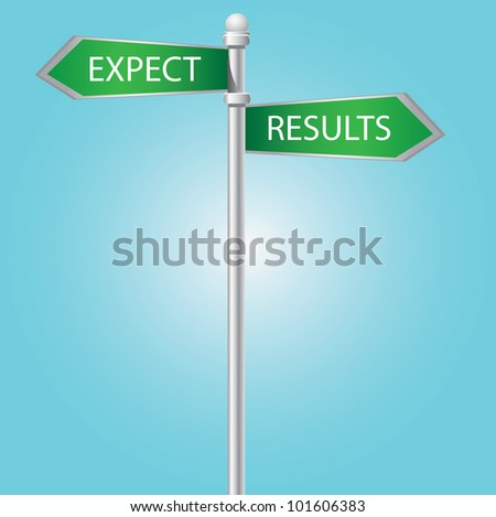 Expect and results signpost on blue sky,Vector