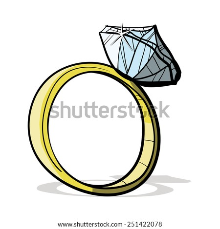Expensive ring with diamond. A children's sketch. Ring cartoon. ?olor image.