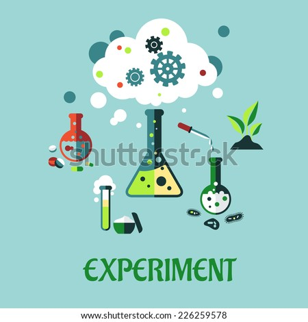Experiment flat design with a cloud of vapor with gear wheels above a conical flask with additional glassware for pharmaceutical, chemical, botanical and medical research - stock vector