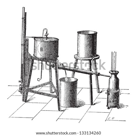 Experimental Setup to Measure the Maximum Elastic Force of Steam, vintage engraved illustration. Dictionary of Words and Things - Larive and Fleury - 1895 - stock vector