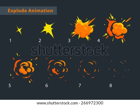 Explode effect animation. Cartoon explosion frames - stock vector