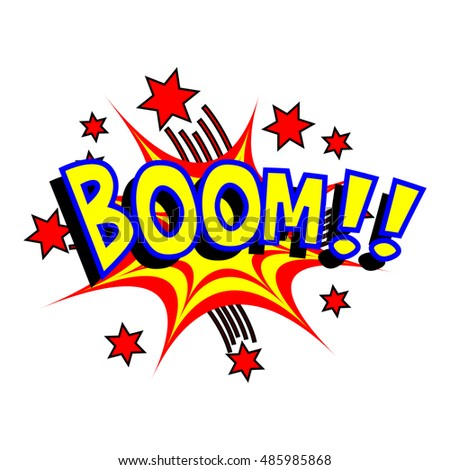 Exploding cartoon boom text caption vector illustration