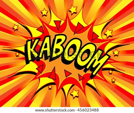 Exploding cartoon kaboom text caption vector illustration - stock vector