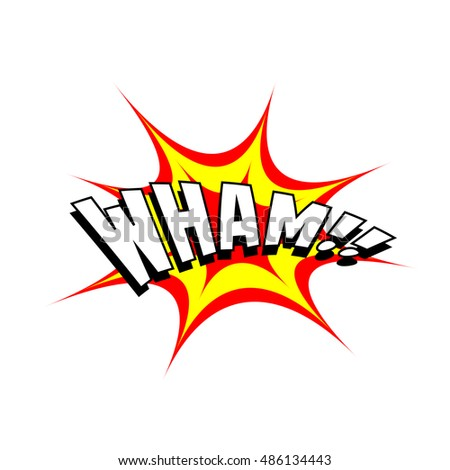 Exploding cartoon wham text caption vector illustration