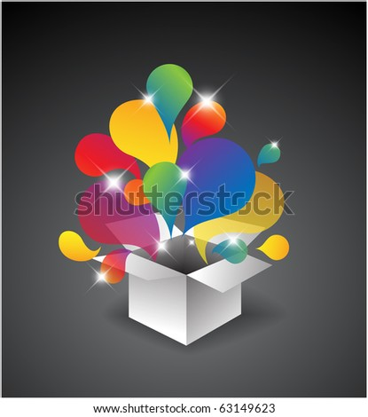 Exploding gift box - Abstract illustration full of colors