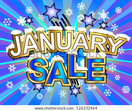 Exploding January sale snowy text colorful action vector illustration