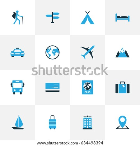 Exploration Colorful Icons Set. Collection Of Earth, Hotel, Bus And Other Elements. Also Includes Symbols Such As Bag, Mountains, Plane.