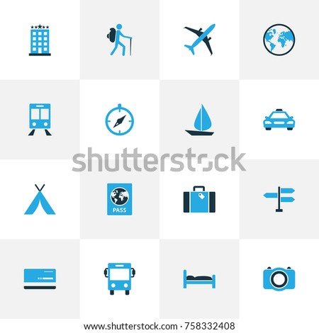 Exploration Colorful Icons Set With Passport, Tourist, Tent And Other Photo Device Elements. Isolated Vector Illustration Exploration Icons.