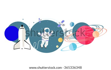 Exploration new planets icon flat isolated. Science space galaxy, universe and satellite, astronomy and astronaut, mission and rocket, solar and cosmos, probe and future discovery illustration - stock vector