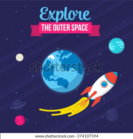 Explore The Outer Space. Vector Spaceship illustration - stock vector