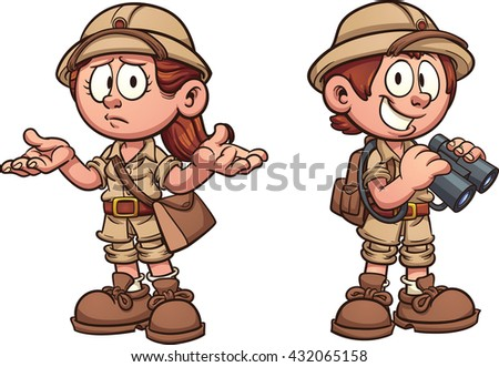 Explorer kids in safari outfits. Vector clip art cartoon illustration with simple gradients. Each on a separate layer. - stock vector