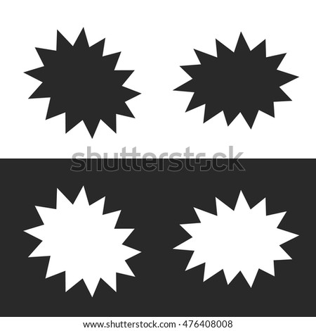 Explosion. Black and white icons. Vector illustration