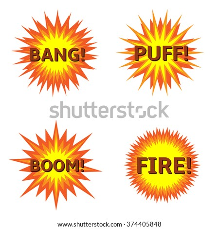 Explosion Bung Puff Boom Fire icon set Vector illustration