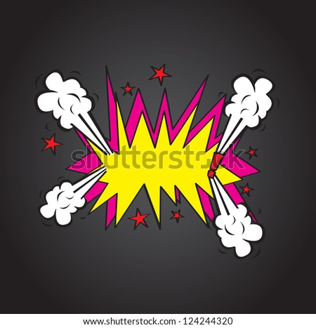 Explosion comic cloud over  black background vector illustration