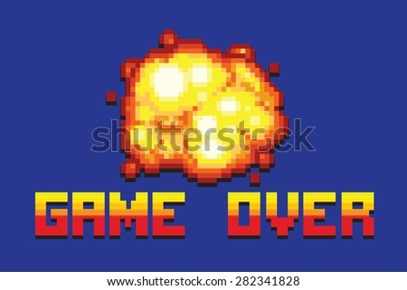 explosion game over message pixel art style retro vector illustration - stock vector