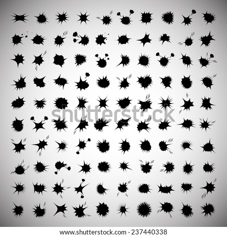 Explosion Icons Set - Isolated On Gray Background - Vector Illustration, Graphic Design, Editable For Your Design - stock vector