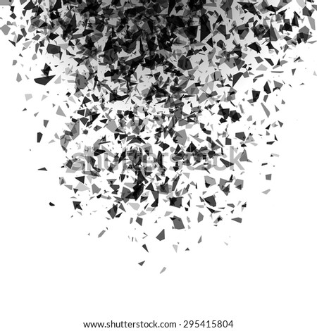 explosion of black pieces on white background. vector illustrati - stock vector