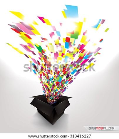 explosion of colorful confetti from a black box. high quality vector illustration