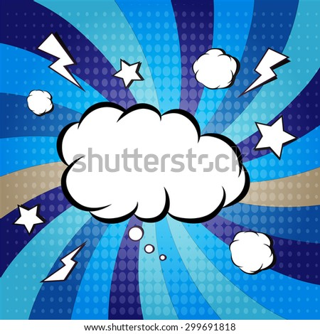 Explosion steam bubble pop-art vector - funny funky banner comics background. this also represents a big bang, thunder, emphatic explosion, roaring voice, scream, booming vehicle, big sound - stock vector