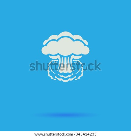 explosion White flat vector simple icon on blue background with shadow