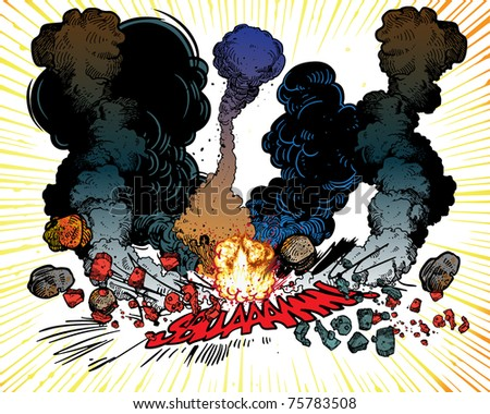 Explosions - stock vector