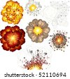 Explosions, set of various vector isolated illustrations - SIMILAR IMAGES PLEASE SEE AT MY GALLERY - stock vector