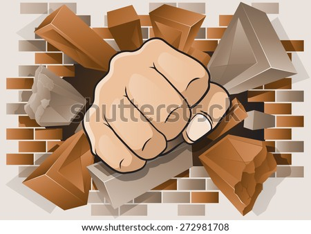 Explosive and Dynamic illustration of a Cartoon Punching Fist smashing through a Concrete and Brick Wall. - stock vector
