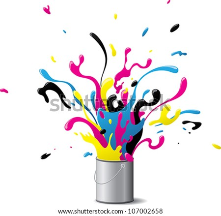 "Explosive CMYK paint - Illustration of an ""explosion of paint"" using  the CMYK color model. - stock vector"