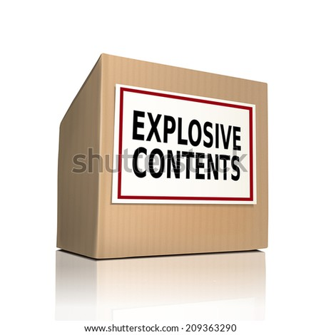 explosive contents on a paper box over white background - stock vector