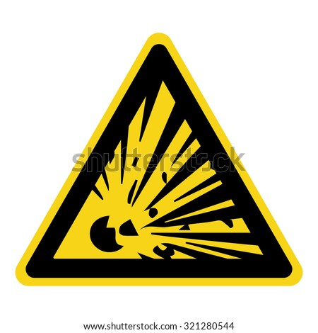 Explosive Hazard Sign. Danger symbol. Yellow icon isolated in black triangle on white background. Warning icon. Vector illustration - stock vector