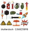 Explosives compilation - stock photo