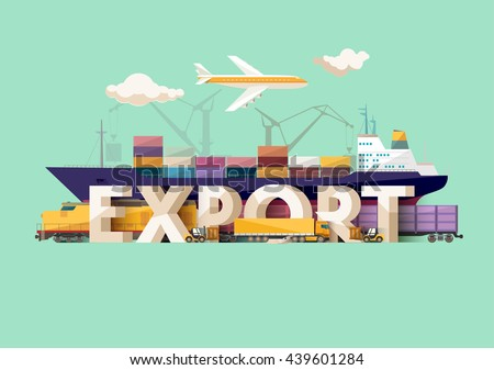 Export concept. Typographic poster.  - stock vector