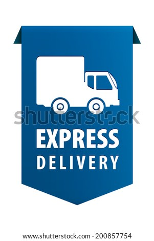 Express delivery blue ribbon banner icon isolated on white background. Vector illustration - stock vector