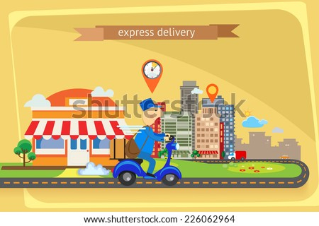 Express delivery, flat design - stock vector