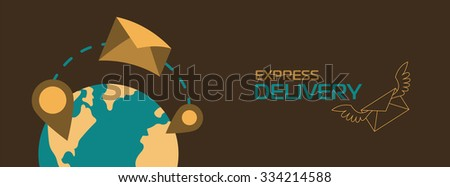 Express delivery letters. World wide delivery. Post delivery. Letter delivery. Delivery concept banner. Delivery service.  - stock vector