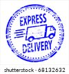 express delivery post rubber stamp - stock vector