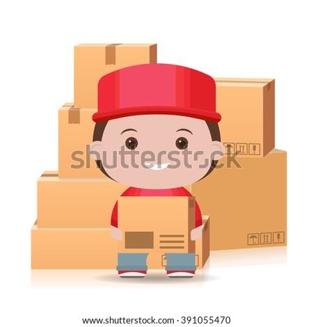 express delivery postman. 3D box Delivery and flat courier isolated on white background. delivery man with parcel. Free delivery service. courier delivery service. delivery business - stock vector