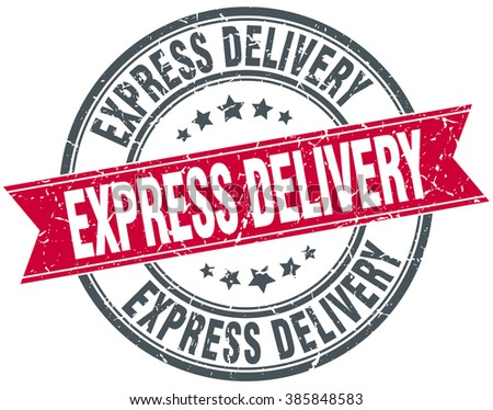 express delivery red round grunge vintage ribbon stamp