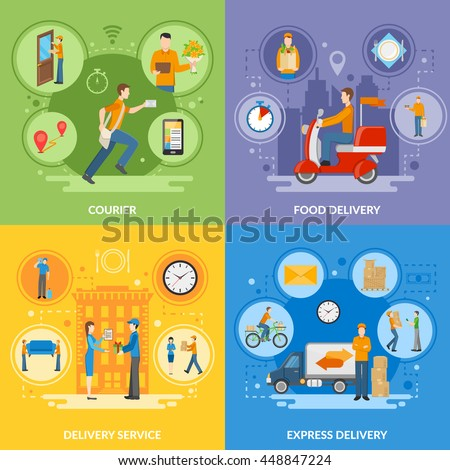 Express delivery service and courier people delivering food and different goods 2x2 flat icons set vector illustration - stock vector