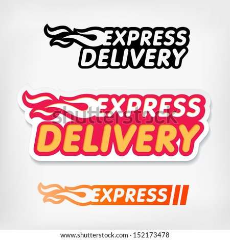 Express delivery symbols. Vector. Express delivery  logo template stickers set. - stock vector