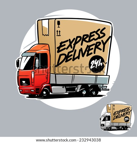 Express Delivery Truck. Cartoon illustration - stock vector