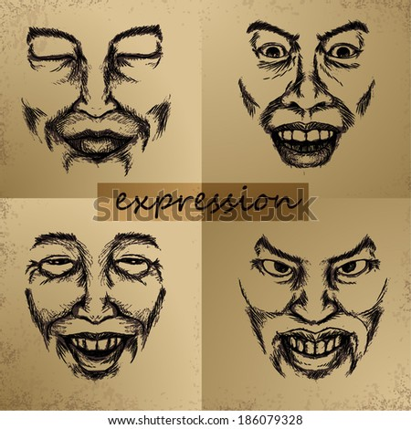 EXPRESSION SKETCH - stock vector