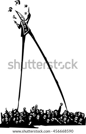 Expressionistic style woodcut image of a Circus clown on stilts juggling balls above and angry crowd - stock vector