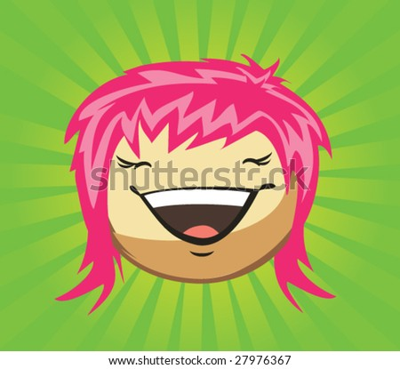 Expressions of girl's fase, vector - stock vector