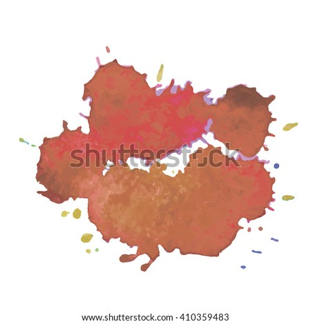 Expressive abstract watercolor spot blotch with splashes red color. Banner for text, grunge element for decoration. Watercolor drop.