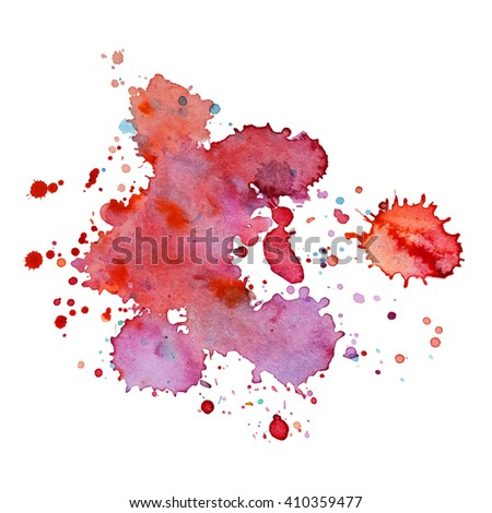 Expressive abstract watercolor spot blotch with splashes red vine color. Banner for text, grunge element for decoration. Watercolor drop.
